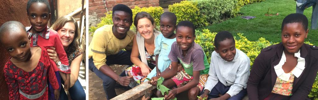 Bernadette avec 2 enfants de Bukavu (gauche) et quelques jeunes de Kajanja (droite)